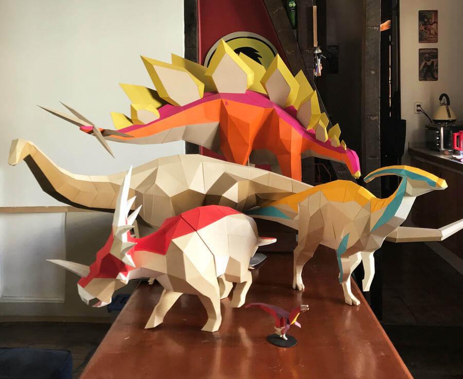 Moldes para armar dinosaurios en 3D