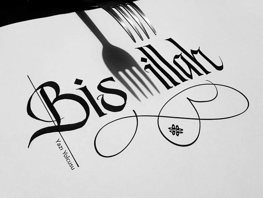Caligrafía hecha con tenedor