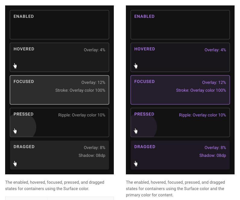 Elementos de diseño Dark Mode