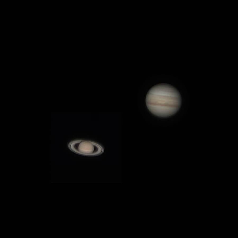 Foto de Saturno y Júpiter