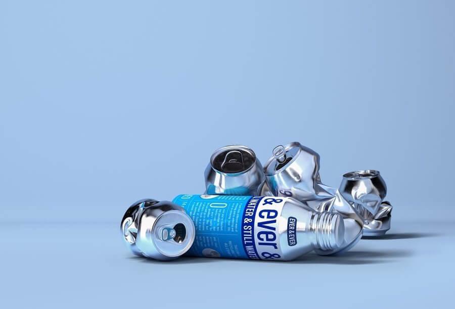 Botellas de agua hechas de aluminio