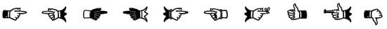 mano señalando en tipografía