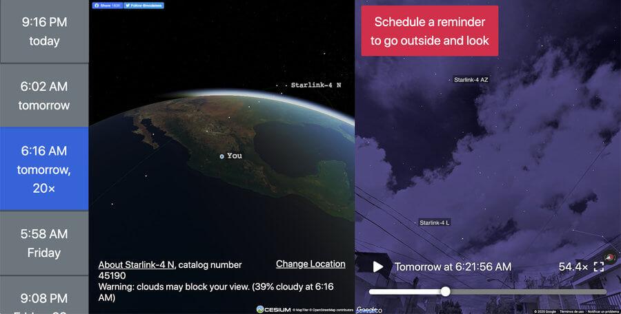 posición satélites artificiales