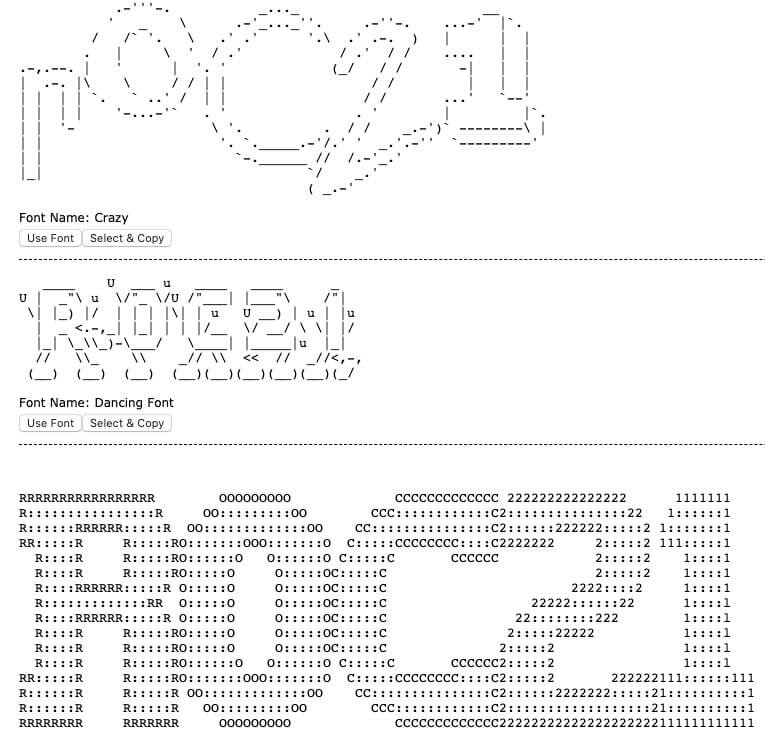 generador de texto a ASCII Art