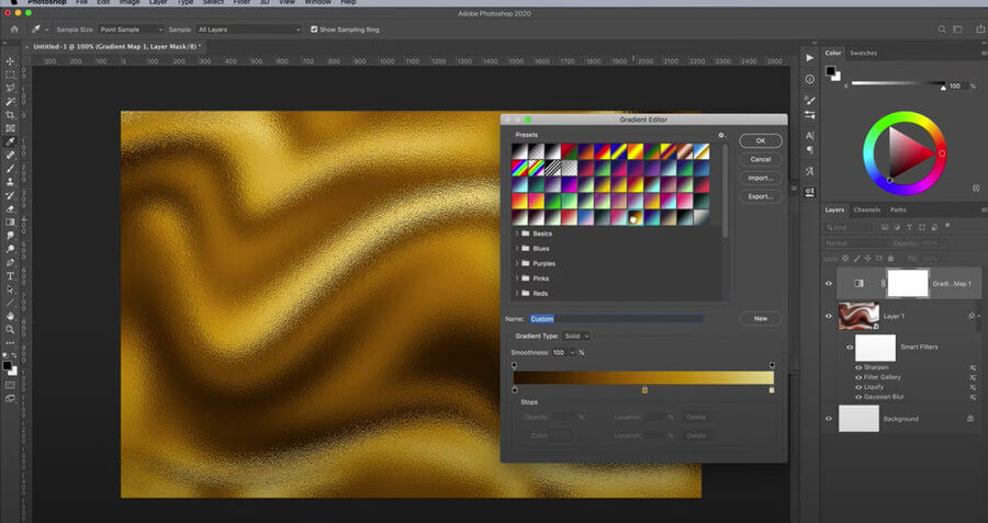 efecto lámina de oro en Photoshop