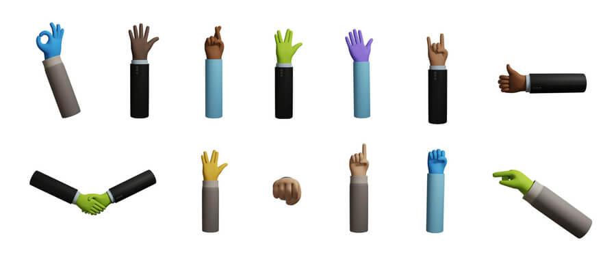 manos y brazos en 3D gratis