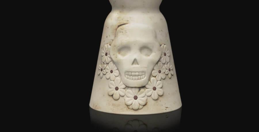 botella de tequila día de muertos