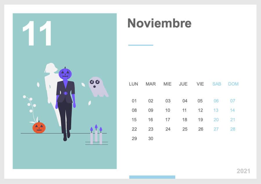 calendario noviembre 2021