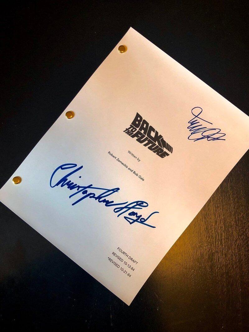 guiones de películas con autógrafos