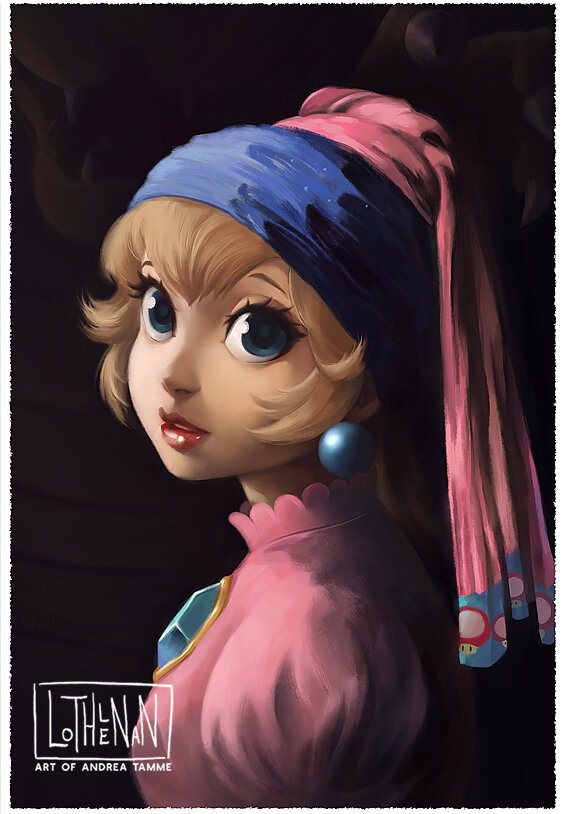 Peach with a pearl earring