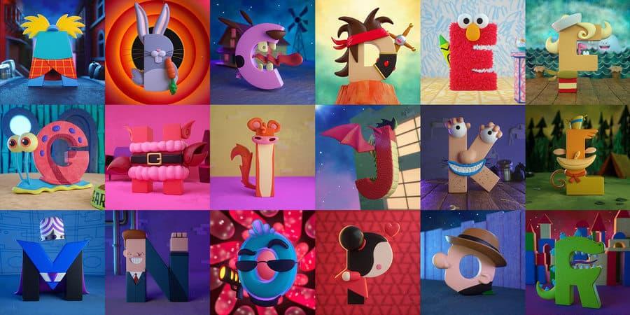 letras personajes de caricaturas