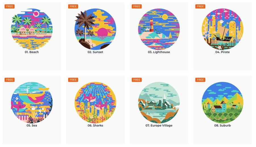 Ilustraciones de paisajes en vectores gratis
