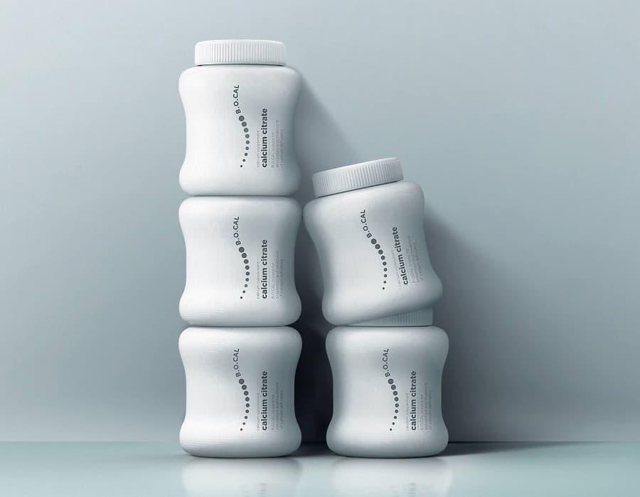 botes con píldoras de calcio